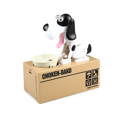 Piggy Bank Hungry Eating Dog Coin Money Saving Choken Puppy Robotic Machine Gift