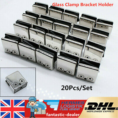 20X Stainless Steel Glass Clamp Bracket Holder for Window Balustrade Staircase