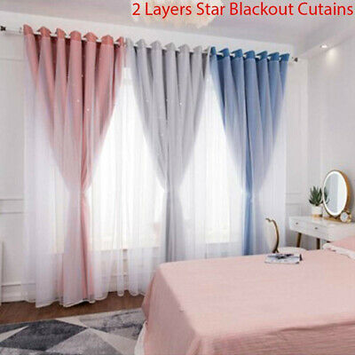 2 Layers Star Blockout Blackout Curtains Eyelet Pure Fabric Room Darkening