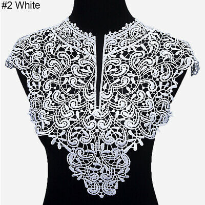 Floral Embroidery Lace Neck Collar Trim Clothes Sewing Patch DIY Applique Wide