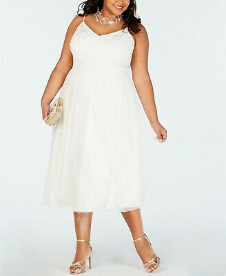 $309 NWT Adrianna Papell Womens Plus Size White Beaded A-Line Wedding Dress