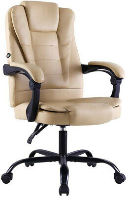 Artiss Massage Office Chair Gaming Chair Leather Recliner Computer Chairs Khaki