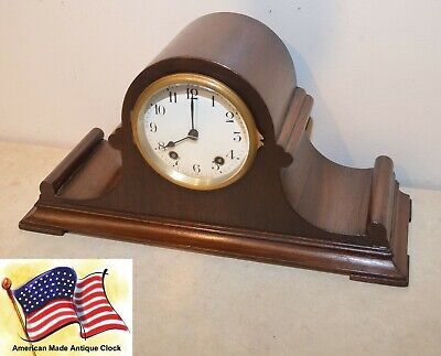 Rare & Restored Seth Thomas Tambour 4 - 1921 Mid-Size Antique Clock In Mahogany