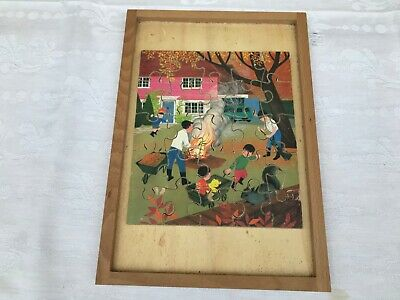 Vintage 25 piece wooden jigsaw puzzle Children's Toy Family