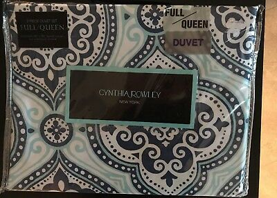 NEW HILLCREST PURE COLLECTION FULL QUEEN DUVET COVER SET WHITE BLUE WHITE BROWN