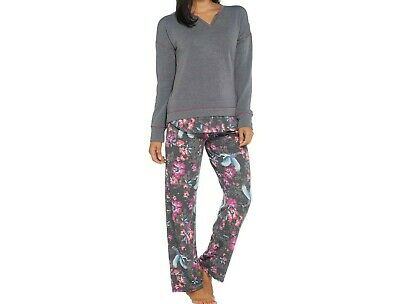 Cuddl Duds Comfortwear French Terry PJ Set Dot Daisy PL NEW A294889