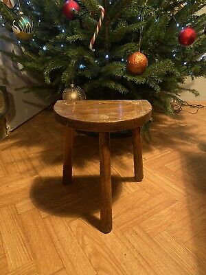 French Vintage Half Moon 3 Legged Milking Stool