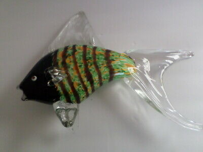 HAND BLOWN GLASS MULTICOLORED LARGE ANGEL FISH SCULPTURE 11 1/2 in Long 8 1/2 ta