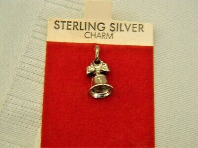 j624 New/ Old Stock Sterling Silver LIberty Bell Charm/ Pendant on Original Card