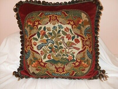 Antique Chippendale Bird Needlepoint Featured On Newly Created Decorator Pillow