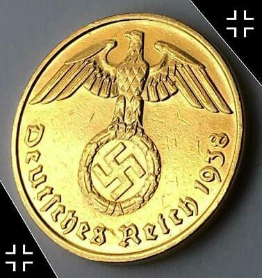 GOLD COIN of the THIRD REICH - brass 5 reichspfennig swastika ww2 nazi germany