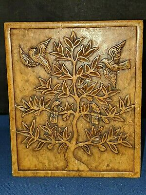 """Chinese hand carved soapstone birds & tree trinket box approx 4.75""""W x 2.5""""H VTG"""