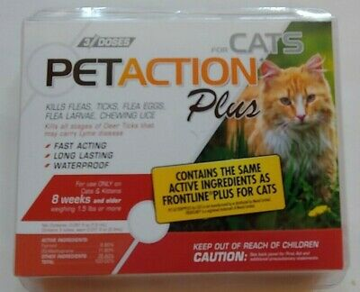 PetAction Plus Flea & Tick Treatment for Cats - 3 Treatment Doses for Cats