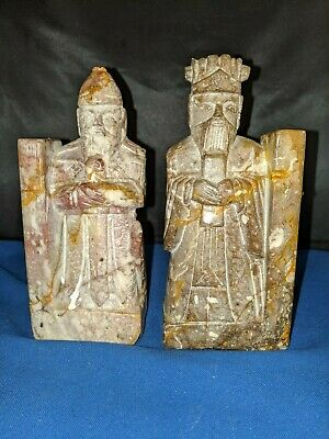 """Chinese hand carved Soapstone immortal scholar old wiseman bookends approx 6.5""""H"""