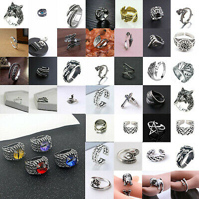 Men Women Stainless Steel Silver Claw Feather Skull Open Adjustable Finger Ring
