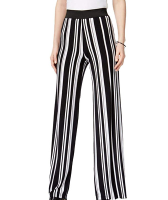 Alfani Womens Wide Leg Pants Pull On Striped Black White Stretch High Rise XL
