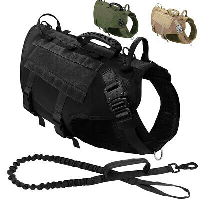 Dog Tactical Harness and Leash Large Breed Military Vest Heavy Duty K9 Pitbull
