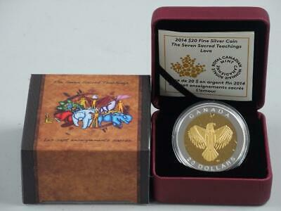 Canada 2014 $20 Fine silver coin The Seven Sacred Teachings Love CAO and Box