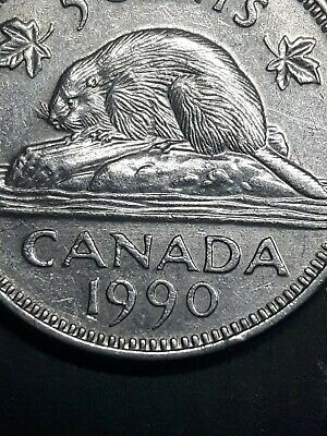 Canada 1990 5 cents Small Bare Belly Nickel