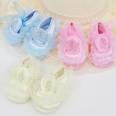 Baby Infant New born Christening Pink White lace shoes Delicate handmade Gift