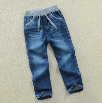 Boys Kids Elasticated Waist Jeans Denim Casual Pants Jogger Trousers School New