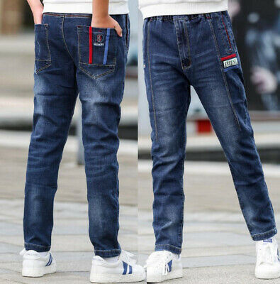 Fashion Kids Boys Loose Fit Cotton Straight Jeans Denim Pants Casual Trousers