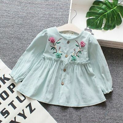 Infant Baby Girl Dress Cotton Long Sleeve Kids Embroideried Children Clothing