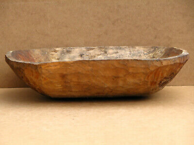 Old Antique Primitive Wooden Wood Plate Bowl for Dough Bread Trough Early 20th