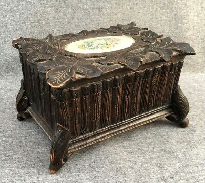 Big antique black forest box made of wood early 1900's Germany woodwork flowers