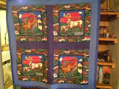 """Amish Hand Made Quilted Farm Scene Throw Wall Hanger Cotton Blend 38""""X37"""" EUC"""