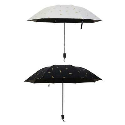 Simple Feather Pattern Three Folding Sunscreen Umbrella Windproof Parasol #KY