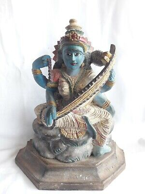 Temple Sculpture Vintage Idol Wooden Hand Carved Hindu Goddess Saraswati Statue-