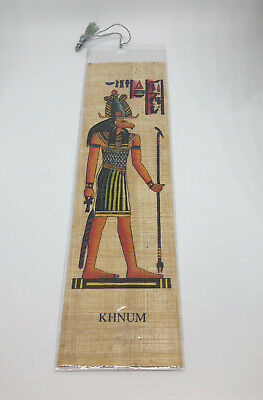 Genuine Egyptian Papyrus Khnum Bookmark in cellophane sleeves Made In Egypt