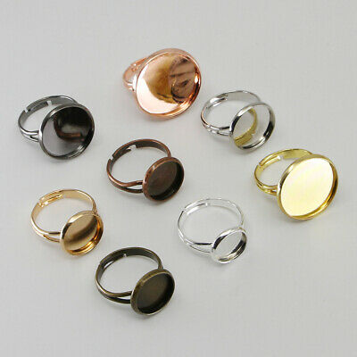10X Adjustable Ring Base Cabochons Cameo Settings Tray Jewelry Making Ring c