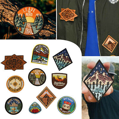 Outdoor Camping Embroidered Patch Nature Loving Badges DIY Iron On Appliques c