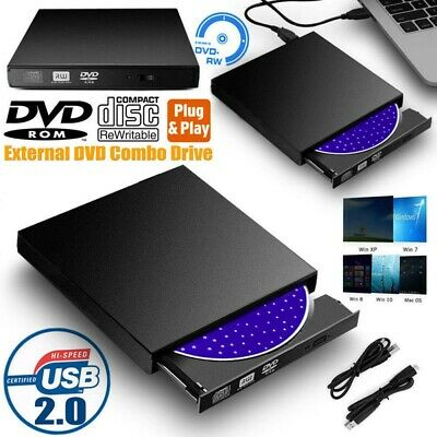 Slim Portable USB 2.0 Ultra External CD-RW DVD-RW Burner Writer Drive For PC MAC