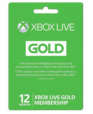 Microsoft Xbox LIVE 12 Month Gold Membership for Xbox 360 / XBOX ONE