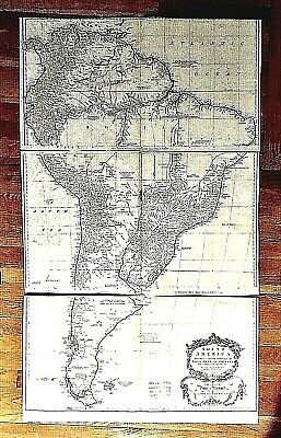 Original Antique Map 1755 Postlethwayte Three Panel Wall Map of South America