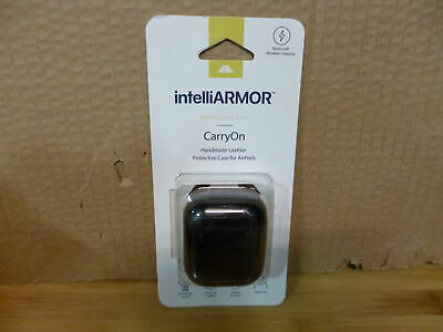 intelliARMOR CarryOn Handmade Leather Protective Case for Apple AirPods - Black