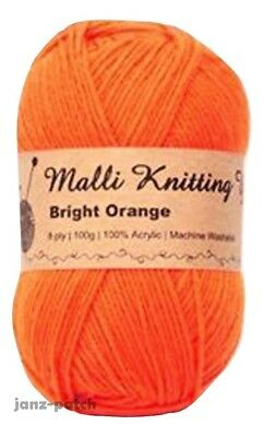 Malli 8ply Acrylic Knitting & Crochet Yarn 100g - Bright Orange Machine Washable