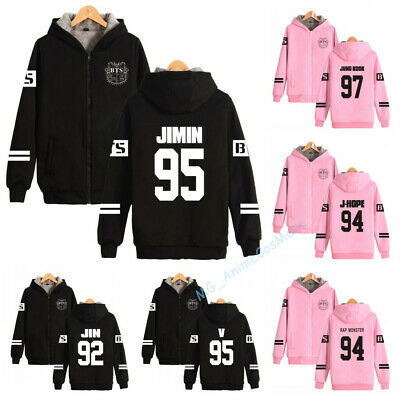 BTS Bangtan Boys Fleece Zip Hoodie Jacket Women Men Girls Casual Sweats Coat