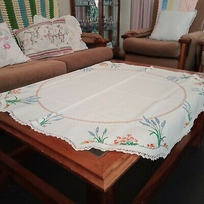 Beautiful Vintage Hand Embroidered Lavender Flowers Crochet Edges Supper Cloth