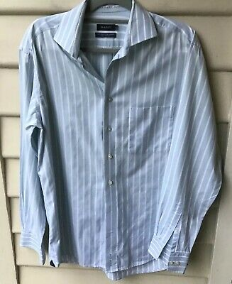 "GANT Size 40 M Shirt Aqua Blue Stripe 100% Cotton ""The Dress Shirt"" EUC Mens"
