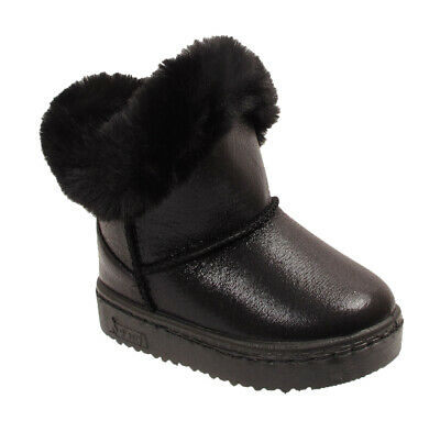 Kids Childrens Infants Girls Ankle Fur Lined Winter Warm School Shoes Boots Size