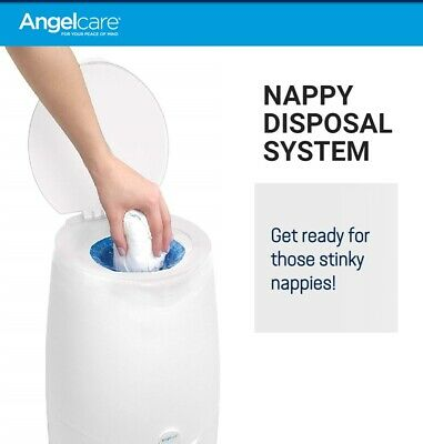 Angelcare Baby Nappy Disposal System Bin Diaper Pail Trash Can & Refill Cassette