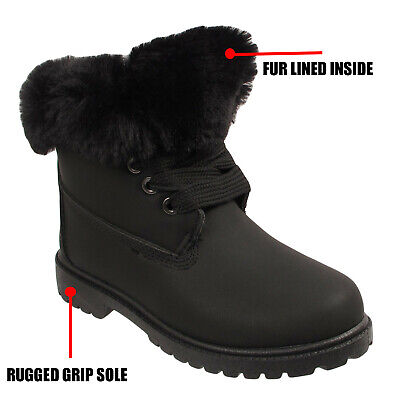 Kids Boys Girls School Fur Lined Army Combat Snow Boots Winter Shoes Warm Shoes