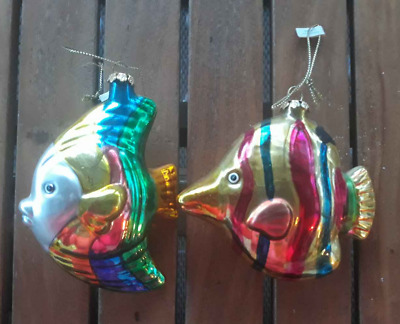 Tropical Reef Glass Christmas Ornament Set Rainbow Angel Fish (Lot 2) Angelfish