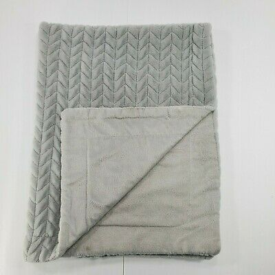 Amari Baby Blanket Grey Chevron White Backing Furry Luxe Luxury Collection