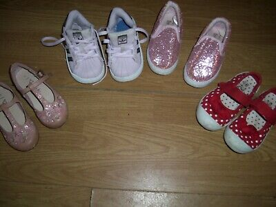 Assortment of four little girls pink and glitter shoes. Size 6.Next, Adidas+