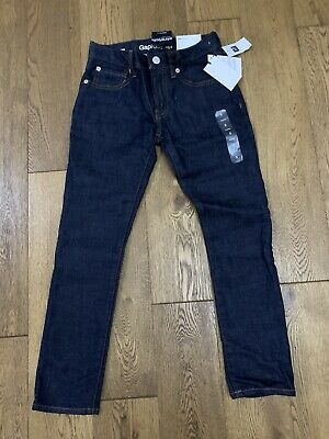 Bnwt Gap Boys Dark Blue Skinny Leg Jeans With Adjustable Waist Size 7-8 Years